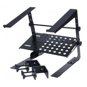 Supporto laptop computer portatile per dj. Fissabile al tavolo o a al case della consolle. Con ripiano d'appoggio