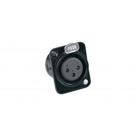 Presa da pannello XLR 3 poli femmina nera in alluminio con pulsante push PROEL