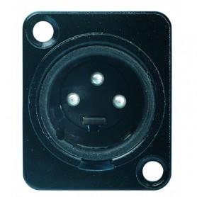 Spina da pannello XLR 3 poli maschio nera in alluminio PROEL
