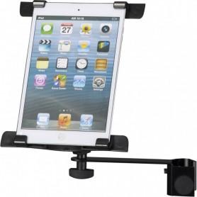 Supporto universale per tablet con morsetto per asta acciaio e plastica