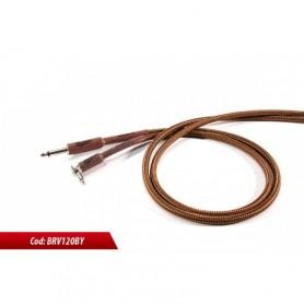 Cavo per strumenti sbilanciato jack mono 6.3mm - jack mono 6.3mm 90° rivestimenti in cotone marrone