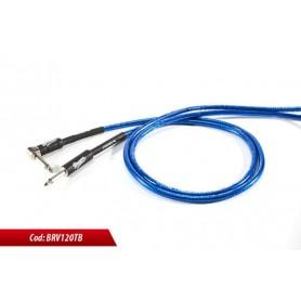 Cavo per strumenti sbilanciato jack mono 6.3mm - jack mono 6.3mm 90° rivestimenti in PVC BLU ELETTRICO TRASPARENTE