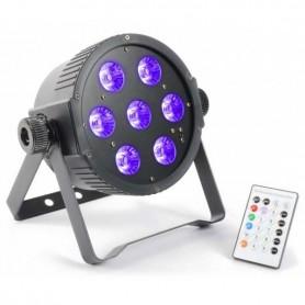 PAR LED 7x18w RGBWA + UV DMX flat par con ventola di raffreddamento e U.V.