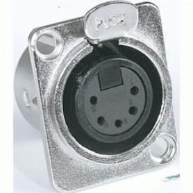 Presa da pannello XLR 5 poli femmina nickelata in alluminio con pulsante push PROEL