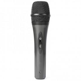 Microfono nero impugnatura in gomma economico con interruttore on/off e cavo incluso