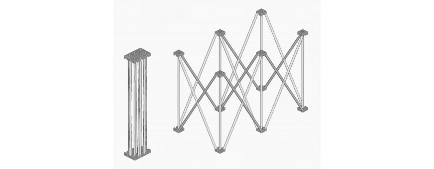 Palchi modulari telescopici reticolari a fisarmonica